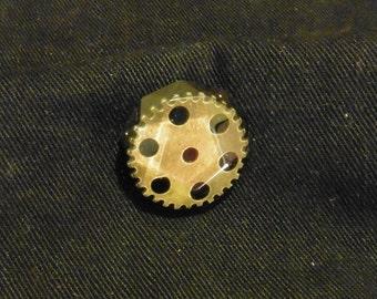 Steampunk Gearwheel in resin pin badge - 0097