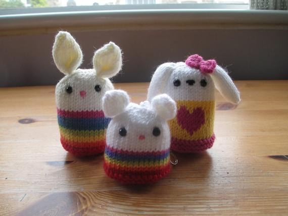 Amigurumi Doll Hands : Cute Hand Knitted Amigurumi Plushie Rainbow Love Heart Bunny