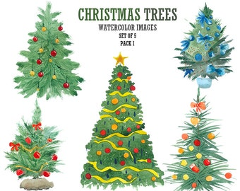 Christmas tree clipart Christmas clip art Watercolor clipart