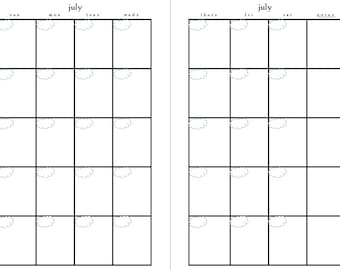 Calendar Printable Monthly Agenda PDF by PollyannaPrintables