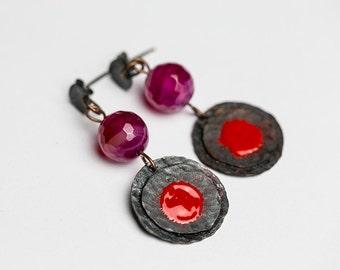 Dangle earrings with sterling silver studs,Red enamel,pink gemstone,pink agate stone,colorful Raw earrings Raw metal Oxidized earrings