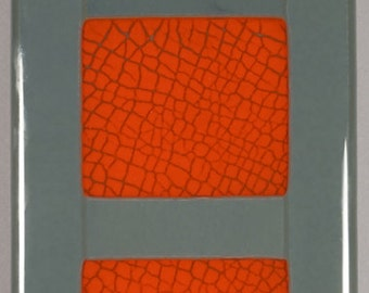 Panel 7, fused glass, crackle glass insert, wall panel 5 1/4 x 14 inches