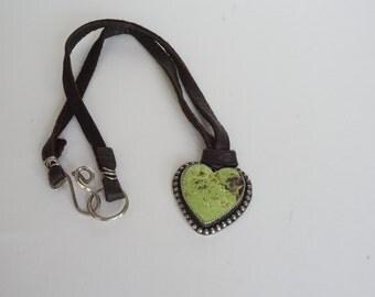 Gaspeite Heart Pendant on Deerskin Leather