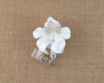 Lily-Retractable Badges-Flower-Id Badge Holder-Pretty Badge Holders-Orchid-Nurse Badge Holders-Easter-RN Id Badges-Badge Reels-Flower Badges