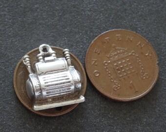 Silver Bracelet Charm Opening Coffee Maker Vintage Fob Pendant