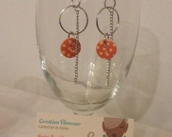 Orange buttons earrings
