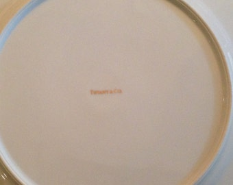 "8, Tiffany, Vintage, 12"" White Dinner Plates from 1988"