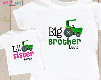 Green Tractor Shirt SET Big Brother Little Sister Shirt Set Personalized Shirts Baby bodysuit SET
