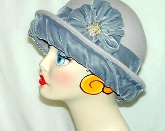 Miss Fisher Custom Convertible 4-way handmade gray wool and velvet bowler cloche - Downton Abbey Gatsby hat