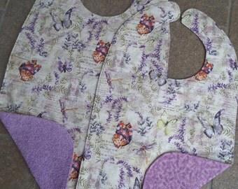 Butterflies in Lavender Garden - Large Adult Bib Clothes Shirt Protector Saver, Women Special Needs Pregnancy Make-up Bib