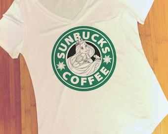 Rapunzel Starbucks - Sunbucks Tangled Coffee Polyester Thin Shirt Women - Disney Princess Tumblr S, M, L, XL. XXL