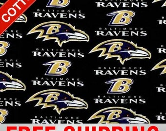 """Baltimore Ravens NFL Cotton Fabric. Style BAL-6041 60"""" Wide. Free Shipping."""