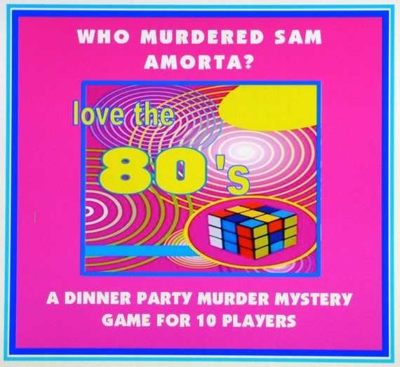 1980's Murder Mystery Dinner Party Game For 10 Players