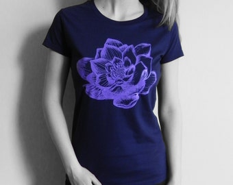 100% Organic Cotton, Morning Lotus Blue T-shirt, fair-trade, ethical, purple, yoga top, yoga clothes