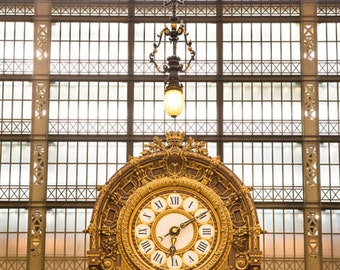 France, Paris, Musée d'Orsay, Paris photography, golden clock, Paris print, Paris decor, wall art print, professional photo, fine art #089