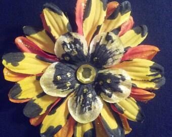 Hair Clip Penny Blossom orange black & yellow