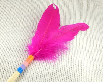 Pink feather wand, cat wand, cat teaser, feather teaser, interactive cat toy, birds tail cat chase toy, raibow feather toy, gift for cat