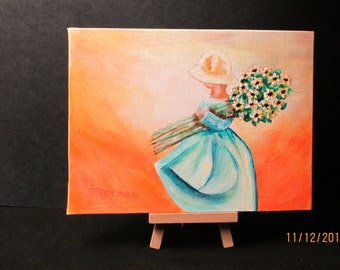 """Van Gogh's Dream          Whimsical 6""""x8"""" acrylic painting.  Easel included. Cheerful gift."""
