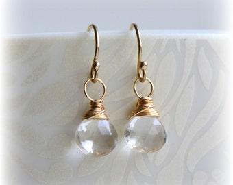 April Birthstone Earrings, Tiny Quartz Earrings, Quartz Crystal Dangle Earrings, Crystal & Gold, Small Quartz Dangle Earrings, Gift for Her