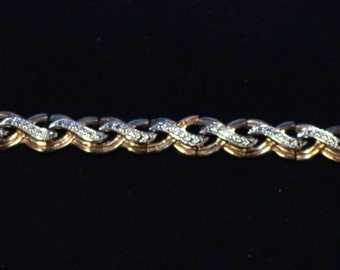 """BR-029: 14.5g Solid Silver Genuine Diamond Hinged Wavy Swirl Link Bracelet 7.4"""" Sterling with Safety Clasp"""