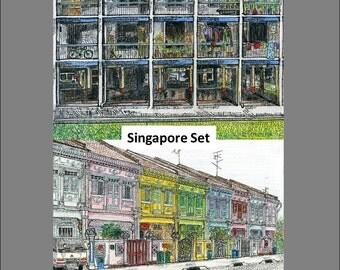 NOSTALGIC SINGAPORE: Set of TWO Illustrations