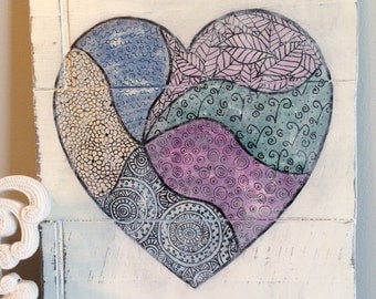 Shabby Chic, Ultra Distressed, Mandala Inspired Heart Painting - Great Valentine's Day Gift! - Goes with Rustic, Industrial and Urban Decor