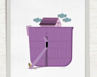 The flood. Illustration of the book Contes per anar to sleep. Editorial Cruïlla 2015. Digital Giclee Print.