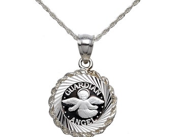 """Pure .999 Silver Guardian Angel Coin in Sterling Silver Diamond-Cut Rope Pendant + 18"""" Rope Chain"""