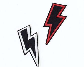 Embroidered Black & White or Red graphic Lightning Bolt, iron-on or sew on patch, Applique, Motif