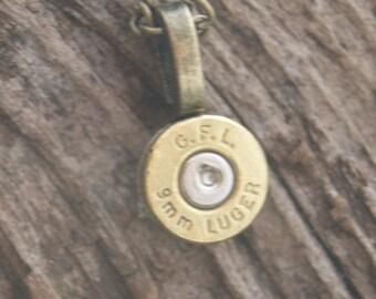 Handmade 9mm lugger brass bullet pendant