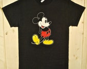 Vintage 1970's MICKEY MOUSE Black T-Shirt / DISNEY / Retro Collectable Rare