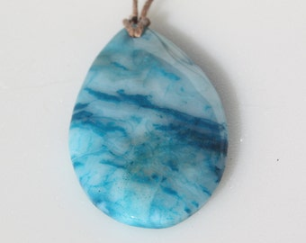 Gemstone Focal Pendant, Blue Crazy Lace Agate, 36x15mm