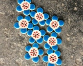 8 Small Flower Shaped Ceramic Buttons , Handmade Buttons, Buttons, Flower Buttons, Pretty Buttons