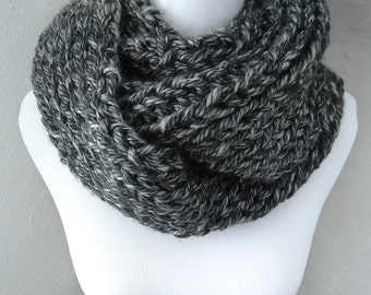 Black and White/Salt and Pepper Knit Infinity Scarf