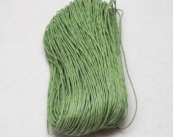 10 Yards (30 Feet) Grass Green Waxed Cotton 1mm Beading Cord