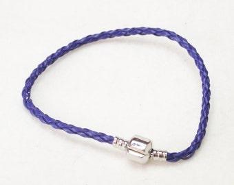 "20.5cm (8"") Braided Leather European Charm Bracelet in Blue"