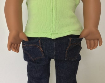 American style jeans, Girl doll clothes, Pants, Blue jeans, Designer jeans, Pants for 18 inch Girl doll jeans