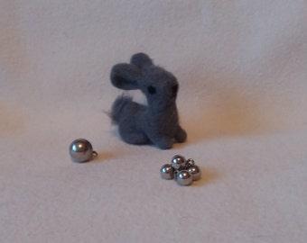 OOAK Needle Felted Bunny Miniature Gray Bunny Rabbit Soft Sculpture