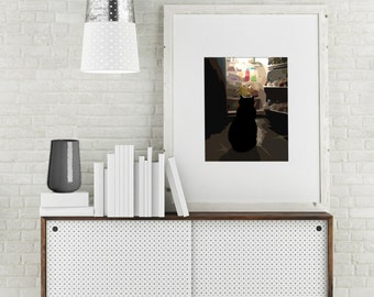 """Modern Wall Art, Modern Art, Abstract Art, Cat Art, Fat Cat Art, Foodie, Fridge Art, Graphic Art, Cat Illustration, """"Curvy Cat Meets Fridge"""""""