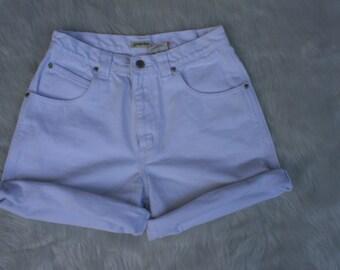 Sturdy White Denim Shorts / High Waisted White Shorts / 90's High Waisted / White Shorts