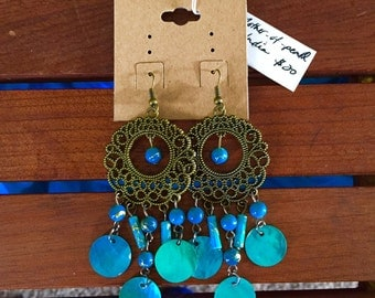 India blue mother-of-pearl chandelier earrings
