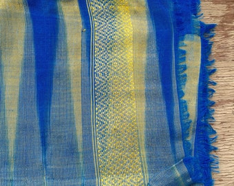 Ethiopian turquoise and blue silk scarf