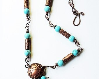 Handmade Copper Wired Magnesite Pendant with Copper and Magnesite Beads