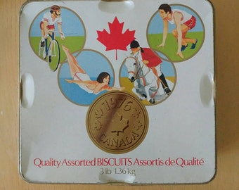 Vintage Olympic 1976 Cookie Tin-Summer Olympics