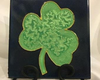Hand-Painted Luck of the Irish Shamrock 6x6 Tile