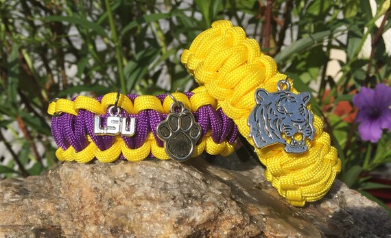 Louisianna State University Tigers Paracord Bracelet, 3 charm choices, antigue silver metal logo charm, whistle buckle