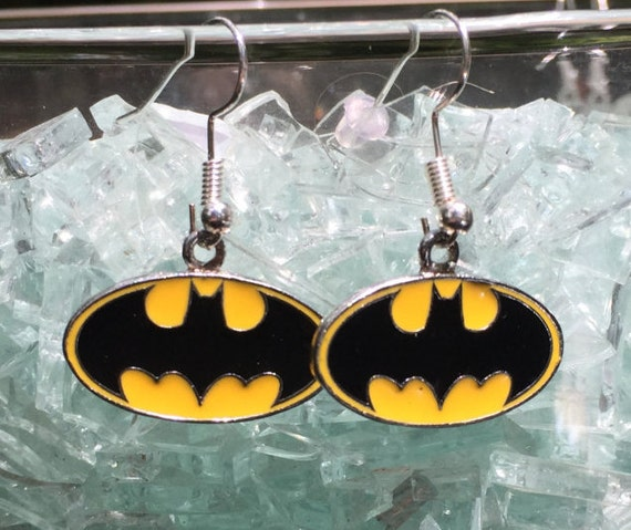 Batman Earrings, Silver 925 charm logo, paired earrings