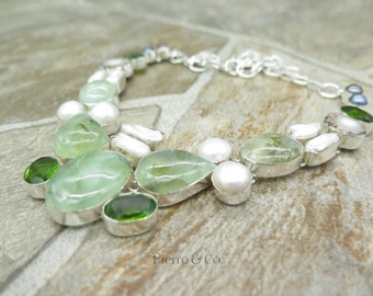 Prehnite Fresh water Pearl Peridot Sterling Silver Necklace