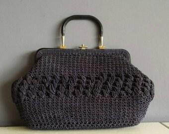 50s Crochet handbag - Navy blue