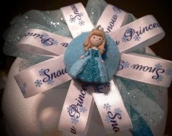 Snow princess blue and white headband